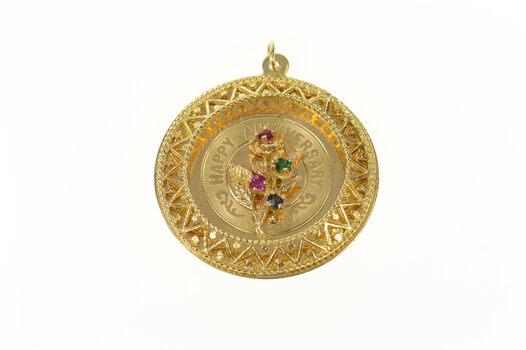 14K Ornate Retro Happy Anniversary Rose Yellow Gold Charm/Pendant