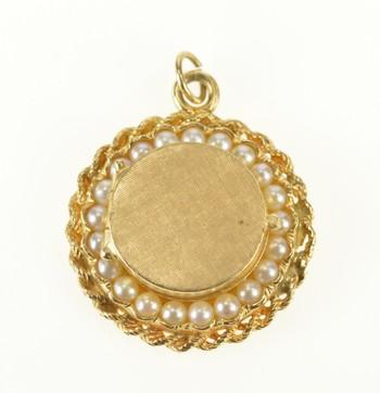 14K Ornate Retro Pearl Round Photo Locket Yellow Gold Pendant