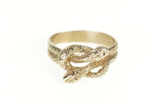 14K Ornate Retro Snake Serpent Knot Statement White Gold Ring, Size 7.5