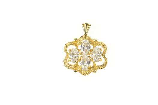 14K Ornate Scalloped Oval CZ Cluster Statement Yellow Gold Pendant