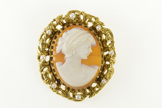 14K Ornate Scroll Work Pearl Halo Carved Cameo Yellow Gold Pendant