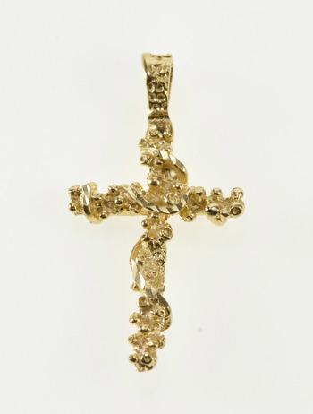 14K Ornate Spiral Design Cross Christian Faith Yellow Gold Pendant