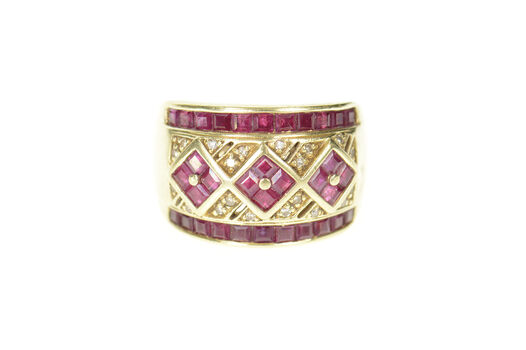 14K Ornate Squared Ruby Diamond Encrusted Band Yellow Gold Ring, Size 6.75