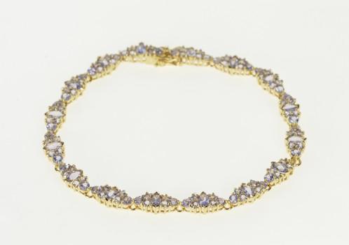 "14K Ornate Tanzanite Encrusted Cluster Link Yellow Gold Bracelet 7.75"""