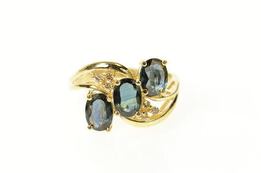 14K Ornate Three Sapphire Oval Diamond Bypass Yellow Gold Ring, Size 7.75
