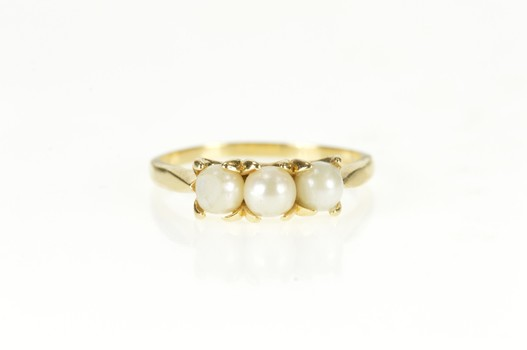 14K Ornate Three Stone Pearl Prong Yellow Gold Ring, Size 9