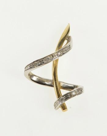 14K Ornate Two Tone Diamond Inset Swirl Bar Yellow Gold Pendant