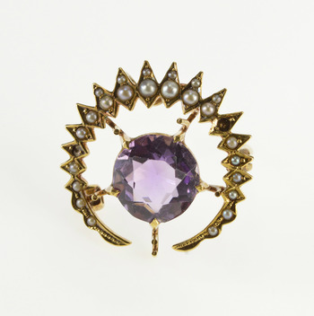 14K Ornate Victorian Amethyst Seed Pearl Burst Yellow Gold Pin/Brooch