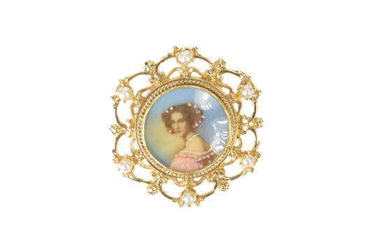 14K Ornate Victorian Painted Lady Pearl Scroll Yellow Gold Pendant/Pin