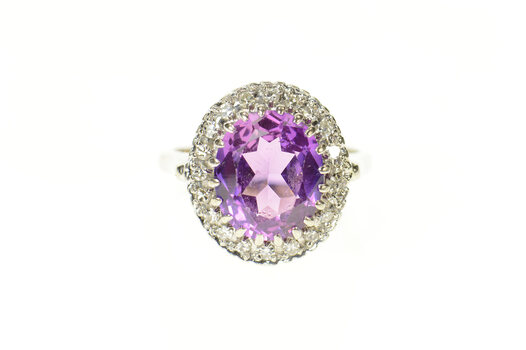 14K Oval Amethyst Diamond Halo Cocktail White Gold Ring, Size 7.75