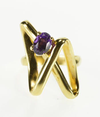 14K Oval Amethyst Ornate 3D Wavy Statement Yellow Gold Ring, Size 5.5