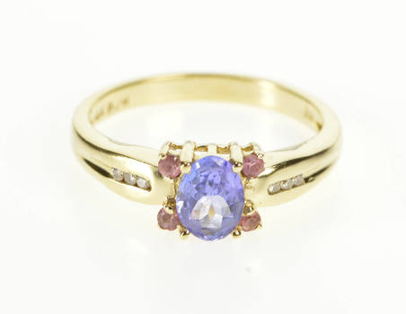 14K Oval Amethyst Pink Topaz Diamond Accent Yellow Gold Ring, Size 8