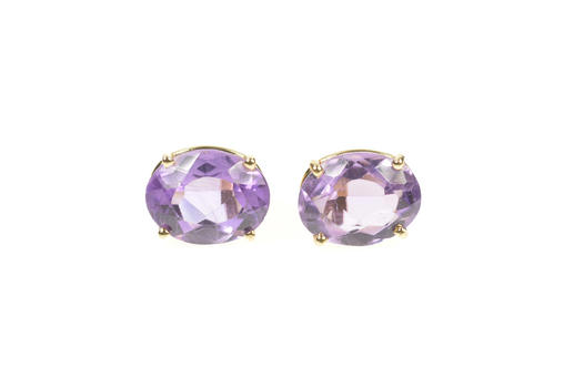 14K Oval Amethyst Solitaire Simple Stud Yellow Gold Earrings