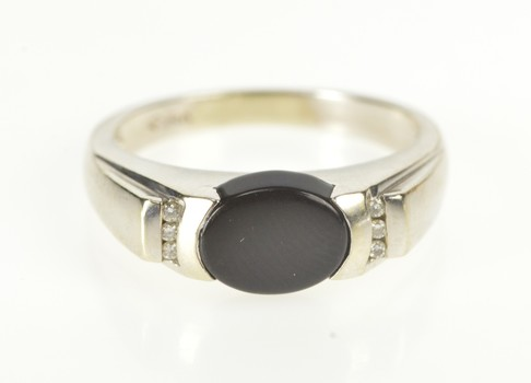 14K Oval Black Onyx Diamond Channel Accent White Gold Ring, Size 6.75