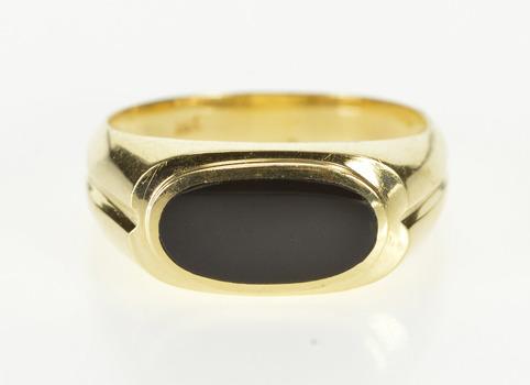 14K Oval Black Onyx Inlay Men's Retro Fashion Yellow Gold Ring, Size 9.75