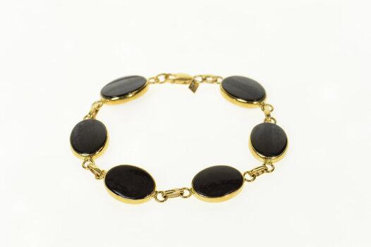 "14K Oval Black Onyx Retro Statement Yellow Gold Bracelet 7"""