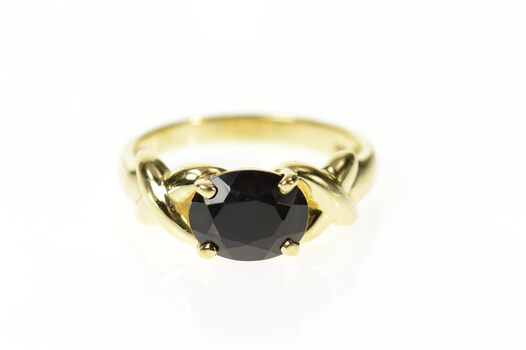 14K Oval Black Onyx X Criss Cross Accent Statement Yellow Gold Ring, Size 9.75