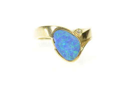 14K Oval Black Opal Diamond Inset Statement Yellow Gold Ring, Size 7