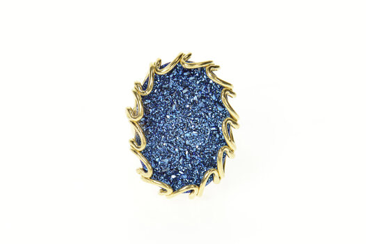 14K Oval Blue Druzy Ornate Cocktail Statement Yellow Gold Ring, Size 7
