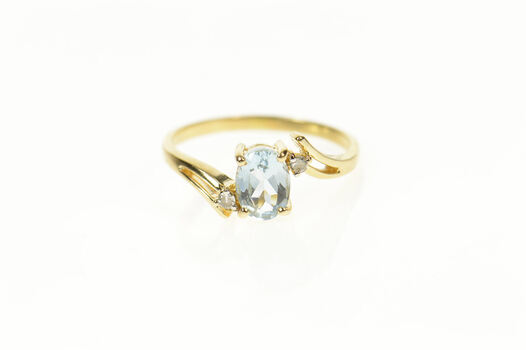 14K Oval Blue Topaz Diamond Accent Bypass Yellow Gold Ring, Size 7