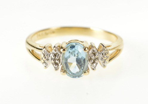 14K Oval Blue Topaz Diamond Accent Fashion Yellow Gold Ring, Size 6