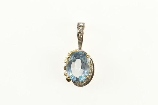 14K Oval Blue Topaz Diamond Accent Statement Yellow Gold Pendant