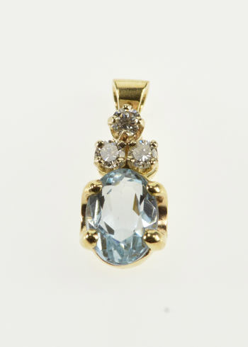 14K Oval Blue Topaz Diamond Cluster Accented Yellow Gold Pendant