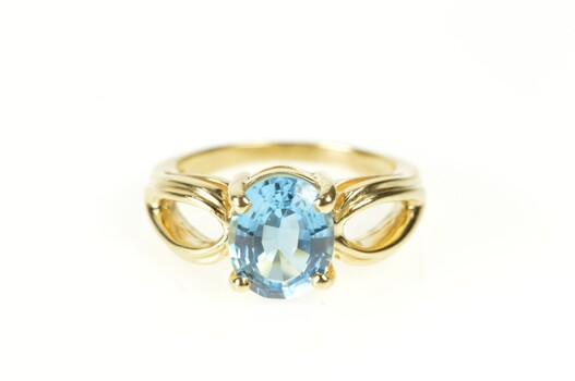 14K Oval Blue Topaz Solitaire Statement Cocktail Yellow Gold Ring, Size 6