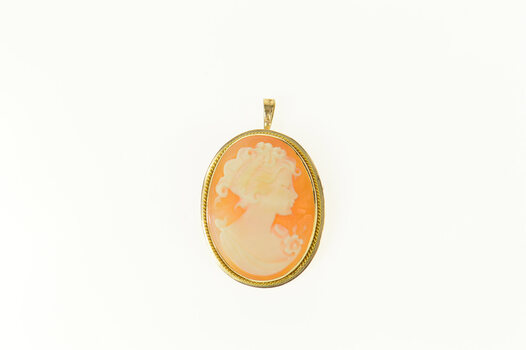 14K Oval Carved Shell Cameo Victorian Yellow Gold Pendant/Pin
