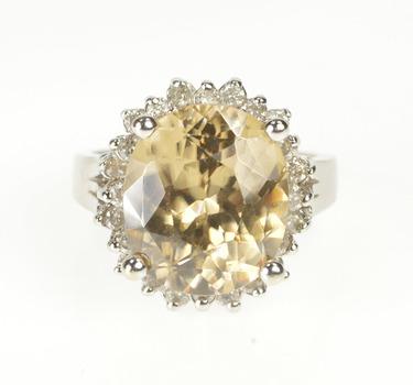 14K Oval Chrysoberyl Diamond Halo Fashion Cocktail White Gold Ring, Size 7.75