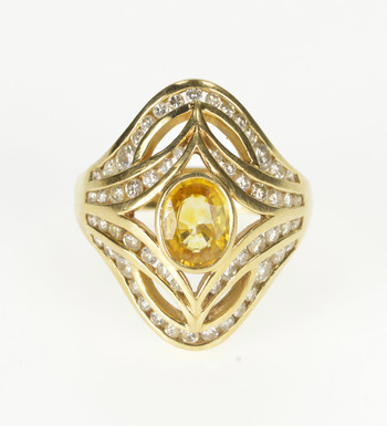 14K Oval Citrine Diamond Channel Ornate Cocktail Yellow Gold Ring, Size 7.5