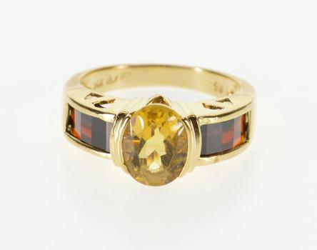 14K Oval Citrine Opposed Bar Garnet Inset Yellow Gold Ring, Size 6.75