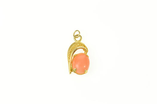 14K Oval Coral Filigree Accent Simple Yellow Gold Charm/Pendant