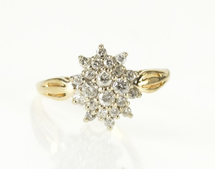 14K Oval Diamond Cluster Statement Cocktail Yellow Gold Ring, Size 6.75