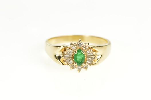 14K Oval Emerald Diamond Halo Engagement Yellow Gold Ring, Size 8.75