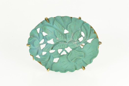 14K Oval Floral Leaf Carved Natural Turquoise Yellow Gold Pin/Brooch