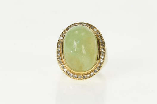 14K Oval Fluorite Diamond Halo Statement Cocktail Yellow Gold Ring, Size 6