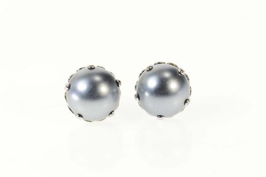 14K Oval Grey Blue Pearl Ornate Filigree Stud White Gold Earrings