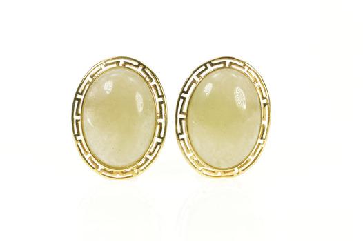 14K Oval Jade Cabochon Greek Key French Clip Yellow Gold Earrings