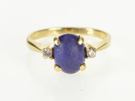 14K Oval Lapis Lazuli Diamond Accent Three Stone Yellow Gold Ring, Size 6.25