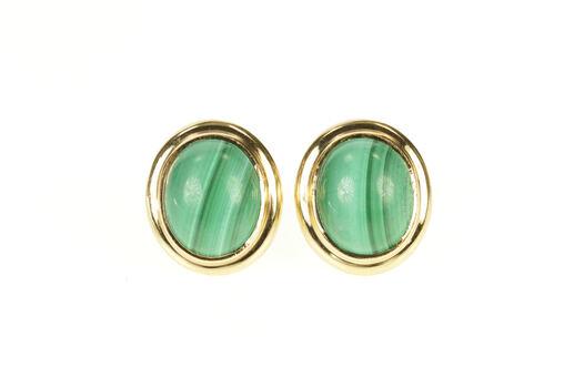 14K Oval Malachite Cabochon Retro Stud Yellow Gold Earrings