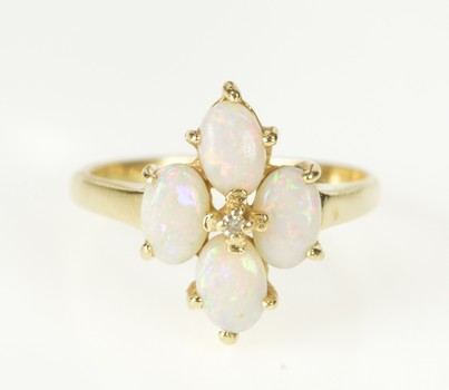 14K Oval Natural Opal Cluster Diamond Accent Yellow Gold Ring, Size 6.25