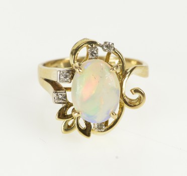 14K Oval Natural Opal Diamond Inset Floral Yellow Gold Ring, Size 6.75