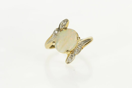 14K Oval Natural Opal Diamond Petal Accent Bypass Yellow Gold Ring, Size 5.75