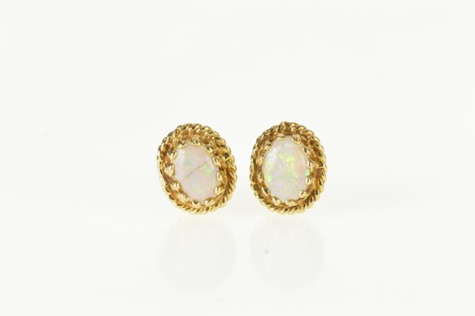14K Oval Natural Pearl Ornate Stud Yellow Gold Earrings