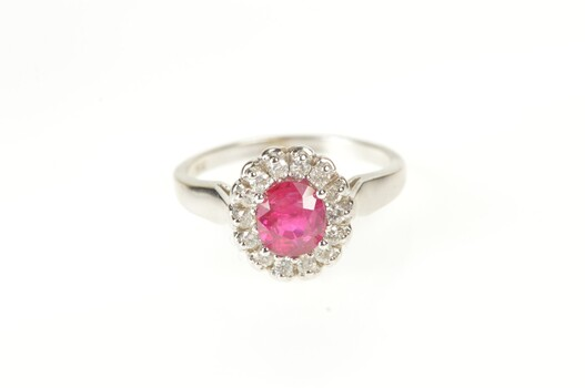 14K Oval Natural Ruby Diamond Halo Engagement White Gold Ring, Size 8