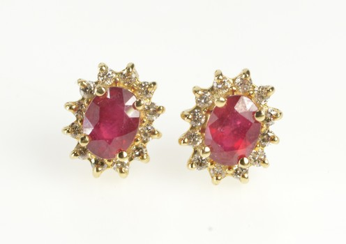 14K Oval Natural Ruby Diamond Halo Stud Yellow Gold Earrings