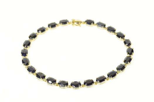 "14K Oval Natural Sapphire Classic Tennis Yellow Gold Bracelet 8"""