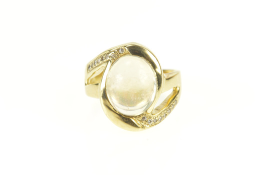 14K Oval Opal Diamond Accent Bypass Statement Yellow Gold Ring, Size 5.75
