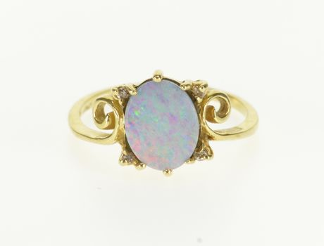 14K Oval Opal* Diamond Accented Ornate Scroll Yellow Gold Ring, Size 6.5